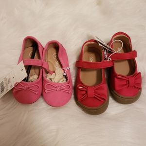 Cat & Jack baby girl shoes, sz 4, 2 pairs